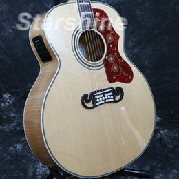 Jumbo maple guitar online shopping - Starshine Acoustic Guitar ZZF J200N Jumbo Solid Spruce Top Backside Flamed Maple Bone Nut Grover Tuner Fishman
