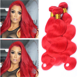 Peruvian Hair Extension Deals Wholesale Australia - Bright Red Peruvian Human Hair Weaves Body Wave Colored Red Virgin Remy Human Hair Bundles Deals 3Pcs 300Gram Double Weft Extensions