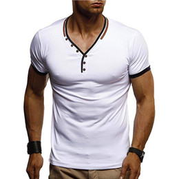 ea553833c306 Plain White V Neck T Shirts Australia - Men's V-Neck Button T Shirts Casual