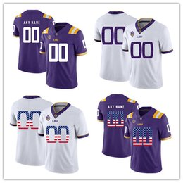 College Football Flags Australia - Custom Men Women LSU Tigers NCAA College Football Jersey 100% Stitched Any Name Number national flag version Football Shirts
