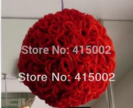 $enCountryForm.capitalKeyWord Australia - Wholesale-Free shipping 30cm*1pcs Rose kissing ball artificial silk decration flower wedding party red color weddng