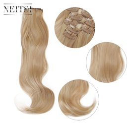 synthetic 613 curly hair 2019 - Neitsi 22'' 7Pcs Set Curly Clip in Synthetic Hair Extensions P18-613# cheap synthetic 613 curly hair