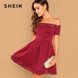 73afcec132 Shein Burgundy Elegant Off Shoulder Laser Cut Fit And Flare Mid Waist Mini  Dress Women Summer Short Sleeve A Line Party Dresses C19040402