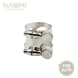 ligature alto sax 2019 - NAOMI Alto Sax Mouthpiece Ligature Metal Ligature For Alto Saxophone Mouthpiece W  Double Screws Woodwind Parts