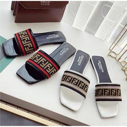 $enCountryForm.capitalKeyWord Australia - Fashion Luxury Women Summer Sandals FF Letter PU + Fabric Designer Ladies Slide Slipper Nonslip Rubber Flat Bottom Sandal Beach Shoes C61005