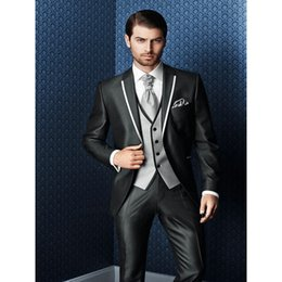 Tie For Grey Suit Australia - 2019 New Arrival Bespoke Grey Classic Wedding Groom Suit For Men Wedding Tuxedos Groomsmen Best Man Suit (Jacket+Pants+Vest+Tie)