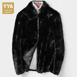 187359d475ed Top Brand Men Winter Real Fur Mink Coat Office Work Furry Outwear Jacket  Business Party Formal Luxury Mink Overcoat Plus Size