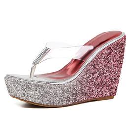 d225bd8e514 New Sequins Thick Bottom Platform Slippers Sandals Summer Women Beach Wedges  Shoes Sexy High Heel Flip Fops Slipper
