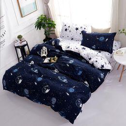 Black White Rose Bedding Australia - 3D Bedding Sets Star Galxy Duvet Cover Blue White 4pcs cartoon geometric Bed sheets Single Twin Full Queen Sizes Kid or Boys 30