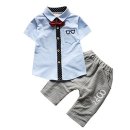 Summer Gentleman Cotton Sets Australia - Boy Clothes 2019 Summer Children Gentleman Suits Kids Embroidery Lapel Short-sleeved Shirt Bow Tie Blouse Cotton Pants 2Pcs Sets