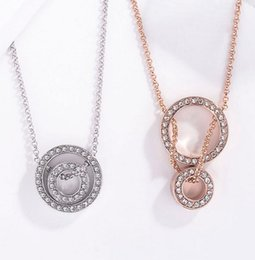 Necklaces Pendants Australia - Fashion new girls double ring diamond necklace temperament time to run pendant hot sale