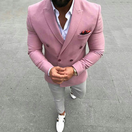 $enCountryForm.capitalKeyWord Australia - Pink Slim Men Suits for Wedding Groom Tuxedo Double Breasted Prom Blazer trajes de hombre Costume Homme 2Piece(Coat+Pants)Terno Masculino