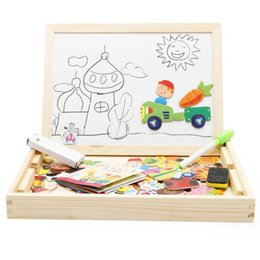 Wooden puzzle children online shopping - Magnetic Puzzle Board Children Kids Farm Jungle Animal Jigsaw Wooden Educational Writing Toys Drawing Easel Boards LXL630