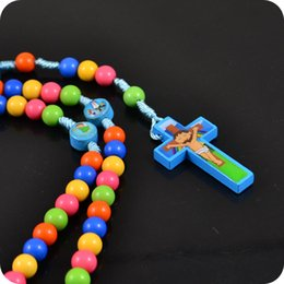 $enCountryForm.capitalKeyWord Australia - NEW Rosary Beads Cartoon JESUS Cross Pendant Necklace Children Kid Girls Catholic Fashion Religious jewelry