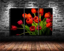 oil painting art wall decor Australia - Red Tulips,3 Pieces Canvas Prints Wall Art Oil Painting Home Decor (Unframed Framed) .