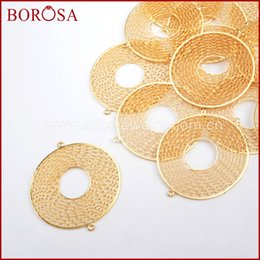 Pendant Connector Rings Australia - wholesale 30PCS 40mm Round Shape Gold Color Brass Hollow Ring Connectors Double Charms Bails Jewelry Findings PJ098