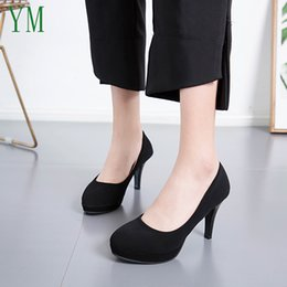 $enCountryForm.capitalKeyWord Australia - Designer Dress Shoes 2019 Basic High Heels Flock High Thick Heel Pumps Slip On Round Toe Ladies Nice 7 5CM Female Women Footwear 34-39