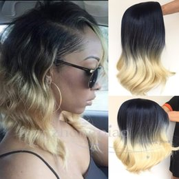 short wig human hair rihanna 2019 - New Arrival Ombre Wigs Rihanna Hairstyle Simulation Human Hair Wig 12inch Body Wave Short Wigs For Black Women Full None