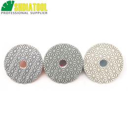 "Wholesale SHDIATOOL Dia 100mm 4"" 3-Steps Diamond Resin Bond polishing Discs Wet high quality Flexible Polishing Pads For Stone Marble"