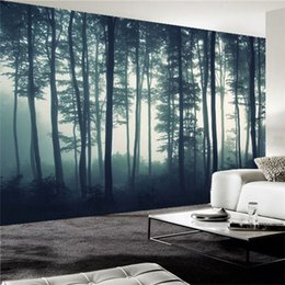 Nature Paintings Wallpaper Australia - Custom Photo Wallpaper 3D Dense Fog Forest Tree Wall Mural Living Room TV Sofa Bedroom Wall Painting Nature Landscape Wall Paper