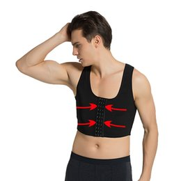 Hombres Pecho Shaper Chaleco Gynecomastia Levantamiento de pecho Chaleco superior Sexy Sujetador Postura Corrector de postura Soporte para espalda Camisa de compresión Corsé en venta