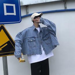 Denim shirt men spring online shopping - 2019 Spring And Autumn New Short Hair Cotton Denim Tooling Korean Version Ins Port Wind Wild Jacket Casual Shirt Blue M XL SH190913