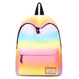 $enCountryForm.capitalKeyWord Australia - 2019 New Printing Backpacks Gradient Color Shoulder Bags Nylon School Bags Rainbow School Bags For Teenage Girls Book Bag Y199