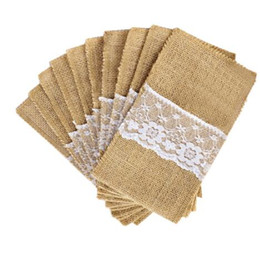 $enCountryForm.capitalKeyWord NZ - Burlap Cutlery Holder Vintage Shabby Chic Jute Lace Tableware Pouch Packaging Fork Knife Pocket Party Decoration Free DHL