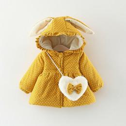 Baby Girl Jacket Ears Australia - 2019 Winter Children Warm Clothing Baby Girl Parkas Coat Cute Costume Kids Rabbit Ear Hooded Thicken Velvet Outwear Jacket