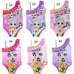 $enCountryForm.capitalKeyWord Australia - Cartoon Surprise Dolls Swimsuit Baby Girls Swimwear Summer Ruffle Bow Swimming Suit Kids Designer One Piece Beach Suit Clothing A21904