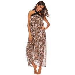 b0b05c5a3cf96 Women Lace Leopard Print Swimsuit Cover Ups Sleeveless Bandage Beach Tunic  Dress See-through Sexy Long Swimwear
