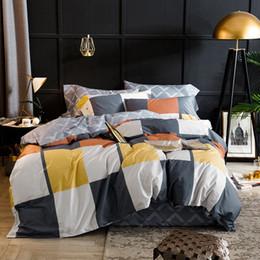 Yellow White Bedding Sets Australia - Plaid Egyptian cotton bedding set brief modern style yellow white gray bedlinen duvet cover pillowcases bedspreads