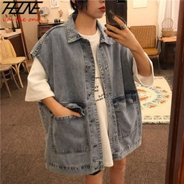 black denim waistcoat UK - THHONE Denim Vest Women Jeans Waistcoat Loose Style Jeans Sleeveless Jackets Big Pockets Black Chalecos Para Mujer Gilet Femme