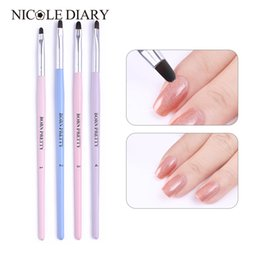wholesale wooden handle paint brush Canada - 1 PC Nail Art Brush Wooden Handle Liner Painting Pen Soft Brushes Acrylic Dotting Flower Drawing Carving Pen Manicure Nail Tool