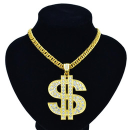 Wholesale New hip hop night club exaggerates golden chain US dollar symbol golden necklace fashion personality pendant for men and women