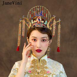 $enCountryForm.capitalKeyWord Australia - JaneVini 2019 Luxury Chinese Style Phoenix Bridal Hairpins Gold Tassel Crown Vintage Blue Women Headbands Wedding Jewelry Hair Accessories
