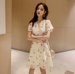 $enCountryForm.capitalKeyWord Australia - South Korean 2019 summer fashion style new girl dress with fashion print little fresh bow lace chiffon