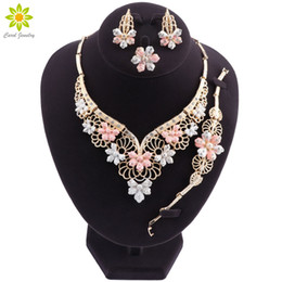 Bride Bracelet rings online shopping - Fashion Charm African Bride Earrings Ring Jewelry Sets Classic Style Wedding Dubai Necklace Bracelet for Women Jewelry SetFashion Statement