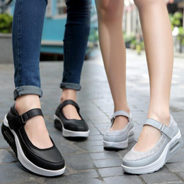 StrapS nurSeS online shopping - Women Plus Size wedge Nurse shoes platform sneakers Heightening shoes Shallow mouth Hook Loop Breathable Casual shoes