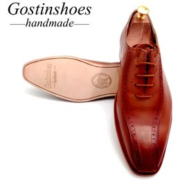 Handmade Brogue Men Shoe Australia - GOSTINSHOES HANDMADE Goodyear Welted Men's Dress Brogue Oxfords Brown Cow Leather Lace-up Pointed Toe Shoes Men Dress Handmade Shoes GSTN012