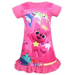 Dress baby party color reD online shopping - Girls baby shark Dress Children lovely cartoon shark Print Short sleeve Party dresses princess dress night skirt clothes GGA1830