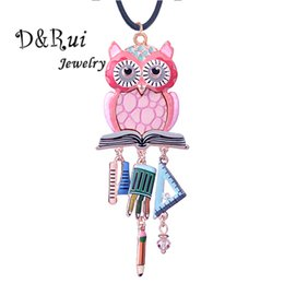 $enCountryForm.capitalKeyWord Australia - D&Rui Jewelry Sweet Girl Pendants Cute Pink Owl Necklace Funny Brush Ruler Pendant Girls Boys Long Sweater Rope Chain Necklaces