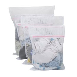 canvas shoe bags wholesale NZ - Large Net Washing Bag, Set Of 4 Durable Coarse Mesh Laundry Bag With Zip Closure For Clothes, Delicates Laundry Storage Organization