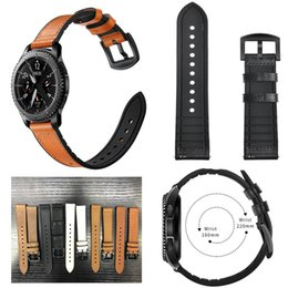 leather fitbit strap UK - 22mm watch Band for Samsung Gear S3 Frontier Galaxy watch 46mm strap Leather watchband bracelet belt Amazfit Pace Stratos 2 1