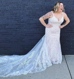 Fish Tail Wedding Dress Gown NZ - 2019 Plus Size Wedding Dress Lace Appliqued Fish Tail Custom Made Bridal Gowns For Fat Women Vestidos