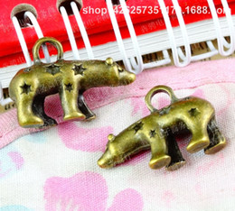 Bear Earrings Pendant NZ - 40pcs 23*15MM Antique bronze tibetan polar bear ornament charms for bracelet vintage metal pendant for earring handmade DIY jewelry making