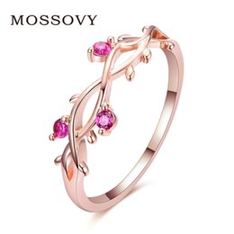 Mossovy Floral Plated Rose Gold Engagement Ring for Female Crystal Zircon  Leaf Adjustable Ladies Wedding Rings for Women Jewelry e051b67f8660