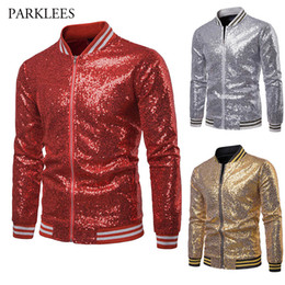 Wholesale performing clothing for sale – halloween Red Gold Silver Sequins Baseball Jacket Men Spring Autumn Striped Hem Slim Fit Coats Mens Nightclub Singer Perform Clothes