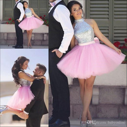 CoCktail dress pink silver online shopping - Shiny Silver Sequins Short Homecoming Dresses Pink Tulle Cheap Halter Cocktail Dresses Arabic Prom Party Gowns