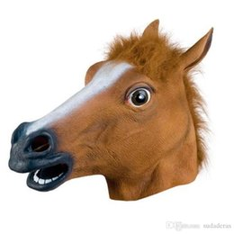 Wholesale white latex suits for sale – halloween Halloween Scary Horse Head Latex Mask Party Cosplay Animal Suits Special Mask